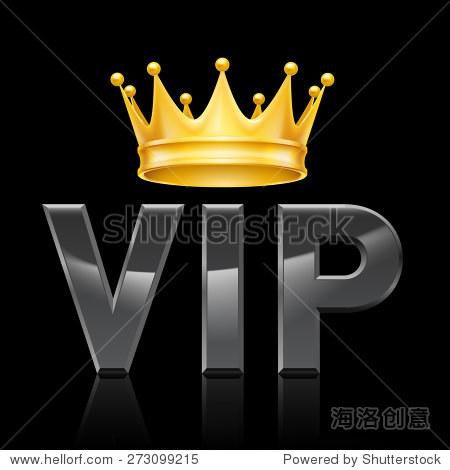 金色的王冠上的缩写vip在黑色背景
