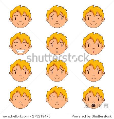 孩子的脸手势,矢量插图,设置集合