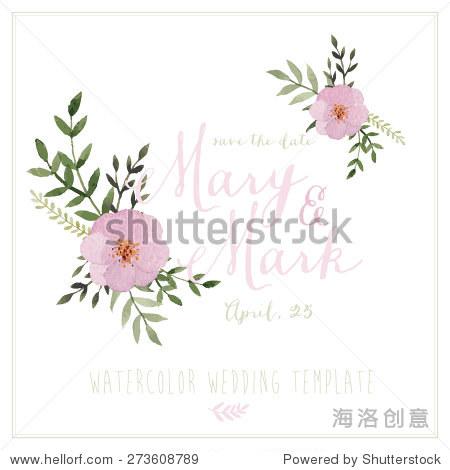 矢量手绘水彩用鲜花花环