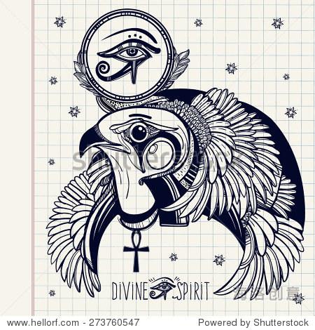 手绘的纹身艺术 矢量插图孤立 岁设计涂鸦风格 眼睛的象征,古埃及图片