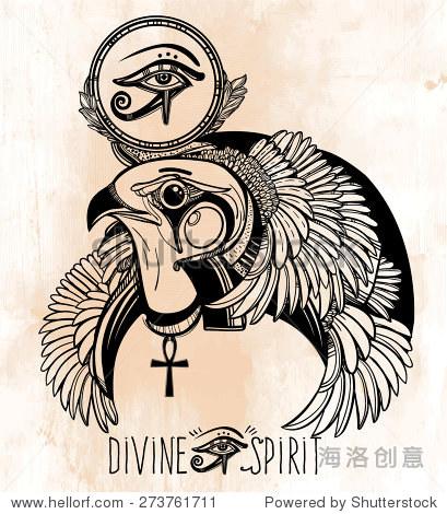 手绘的纹身艺术 矢量插图孤立 在设计线性风格 眼睛的象征,古埃及图片