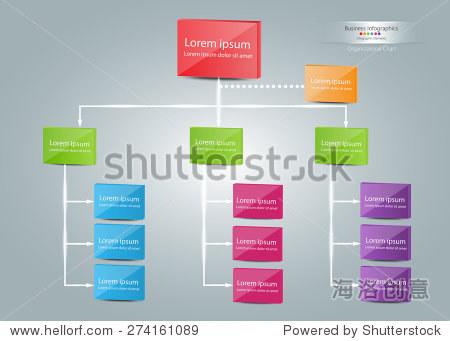 彩盒组织图表信息,业务结构概念,业务流程图工作过程中,向量插图.