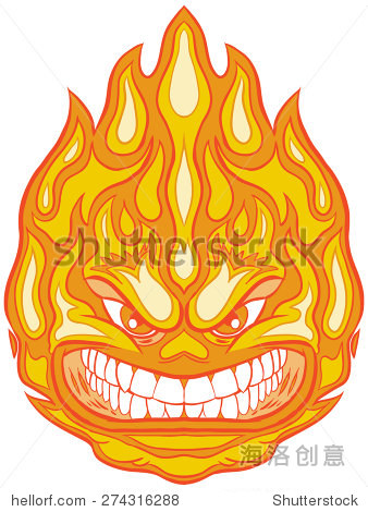 向量剪贴画卡通插图的火球吉祥物一个愤怒的脸 符号 标志,抽象 站