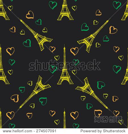 无缝模式与心在黑色埃菲尔铁塔.手绘.