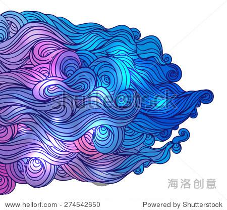 向量抽象手绘的头发颜色模式与海浪和云.亚洲风格的设计元素.