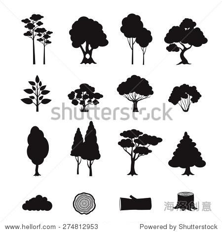 黑森林元素图标集树桩日志树孤立的矢量图