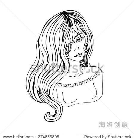 向量的一个悲哀的长头发的女孩
