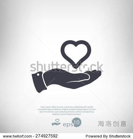 心手图标,矢量图.平面设计风格