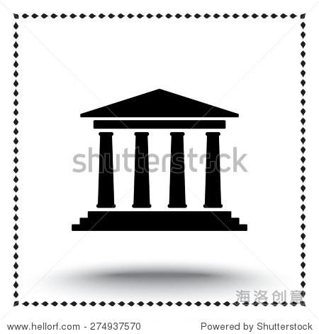 银行大楼标志图标,矢量插图.平面设计风格