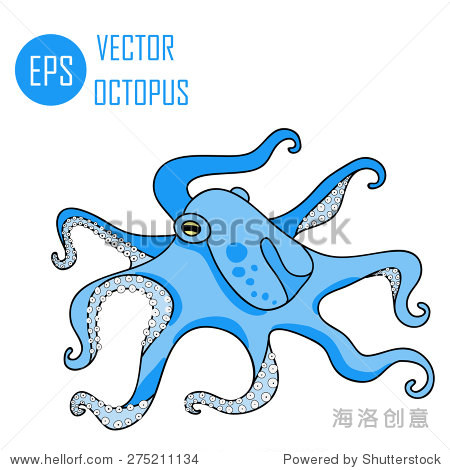 矢量图的章鱼海洋(章鱼和触角)