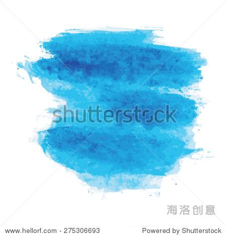 蓝色水彩纹理背景,手绘矢量插图 - 背景/素材,抽象