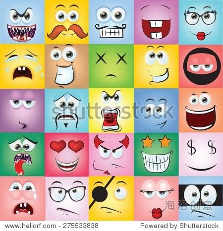 用不同的卡通脸的情绪图片