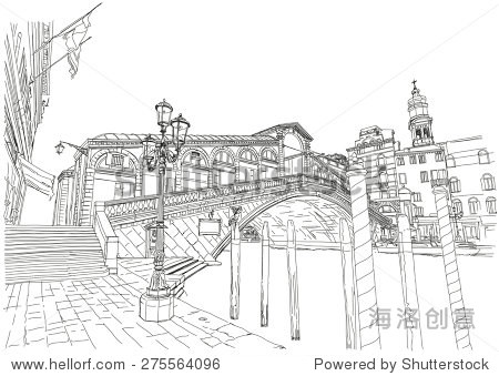 里亚尔托桥.黑白素描-建筑物/地标,艺术