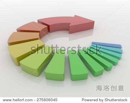 抽象的3 d透视画法的一个楼梯由圆形箭头段.反光的白色地板上呈现.