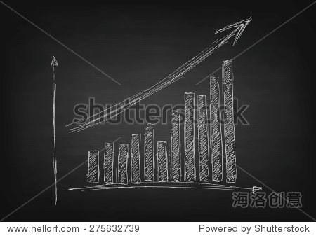 增长与箭头图形手绘黑色的黑板.矢量设计