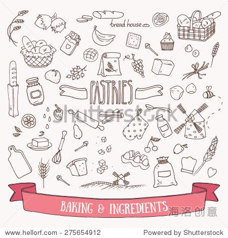 面包,糕点和烘焙原料涂鸦集.手绘矢量插图.