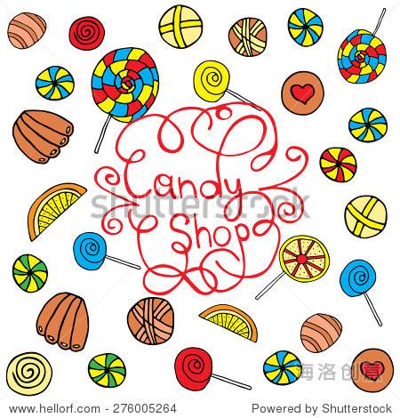 亮的背景糖果 棒棒糖和巧克力 手工绘制的矢量插图 装修,网站和其