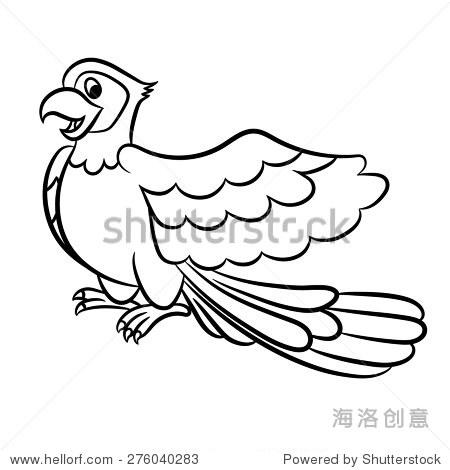 可爱的卡通插图鹦鹉了.矢量插图.