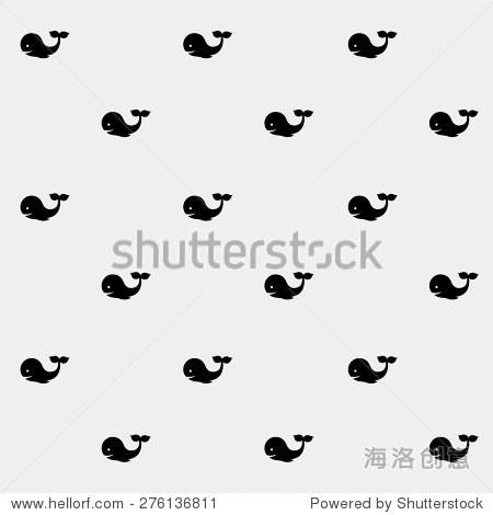 几何简单的黑白简约向量海洋模式,鲸鱼