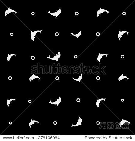 几何简单的黑白简约向量海洋模式,海豚