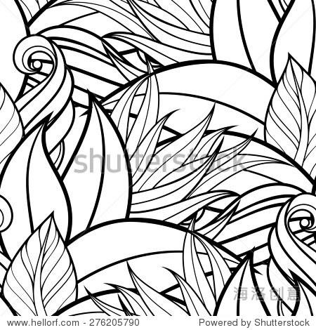 无缝的单色花卉图案.手绘花卉结构,装饰花,着色的书