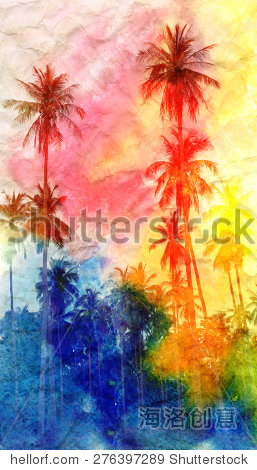 美丽的水彩画色彩斑斓的复古的椰子树