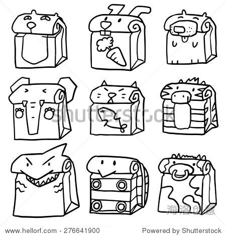 向量组动物纸袋