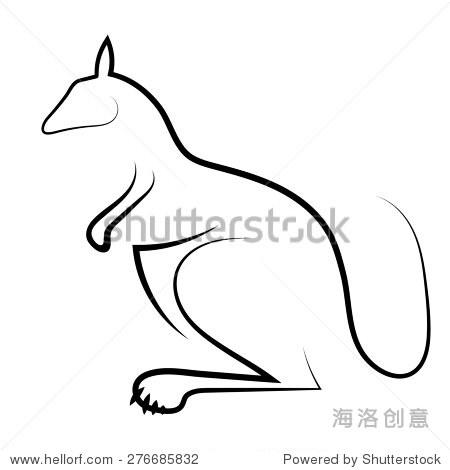 袋鼠图标孤立在白色背景.澳大利亚动物程式化的象征