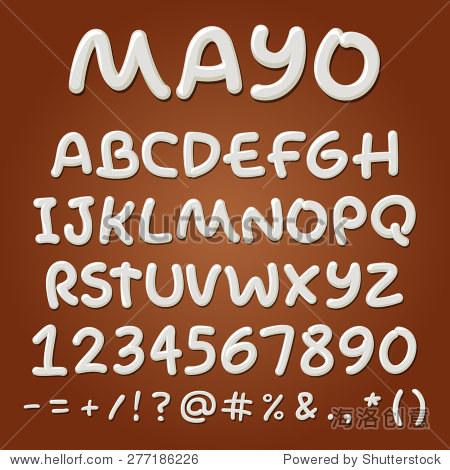 蛋黄酱向量字母表.酱abc字母,手工制作的字体.