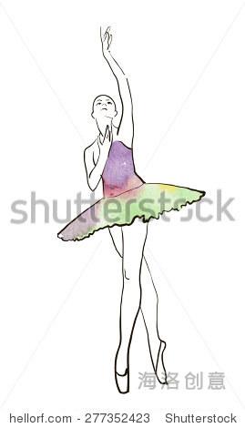 矢量手绘图,芭蕾舞女演员水彩插图. - 背景/素材,人物