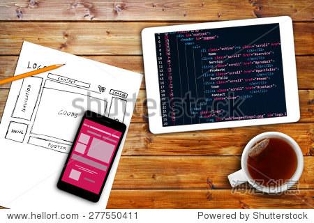 网站线框图示意图和编程代码数字平板电脑 - 科技