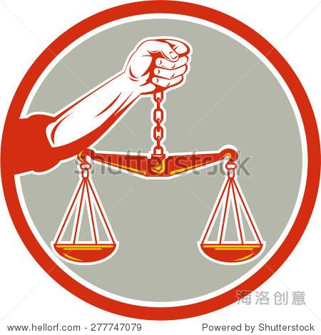 插图的牵手磅秤正义的天平从前面设置圈内孤立的背景做了复古的风格.图片