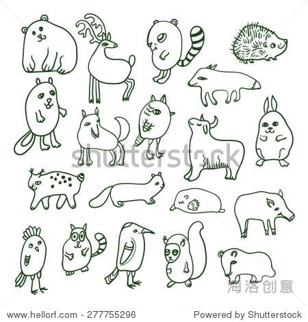 向量组与涂鸦森林动物. - 动物/野生生物,艺术 - 站酷