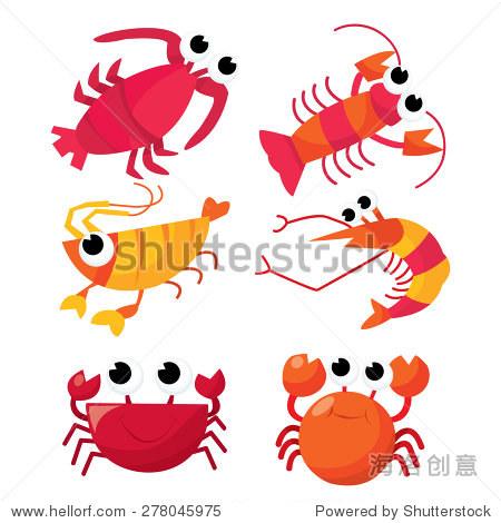 卡通矢量插图一组六个可爱的甲壳类动物:虾