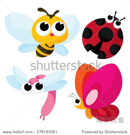 卡通矢量插图的漂亮可爱的小虫子就像蜜蜂,蜻蜓,蝴蝶和瓢虫.