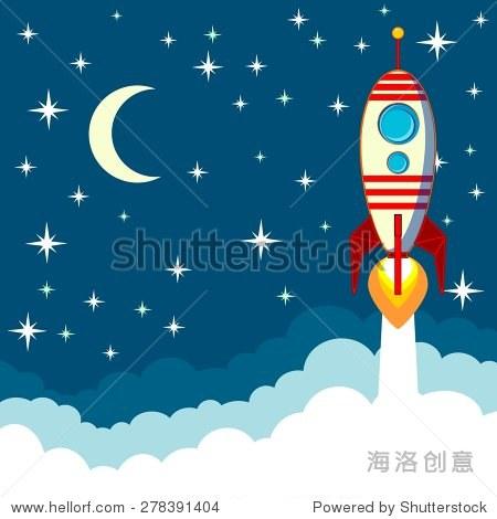 卡通火箭起飞的背景下月亮和云空间文本