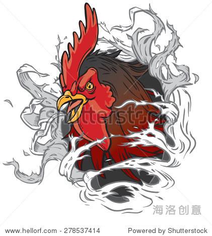 矢量动画剪贴画插图的一个现实的公鸡或斗鸡雄鸡吉祥物头撕裂的背景