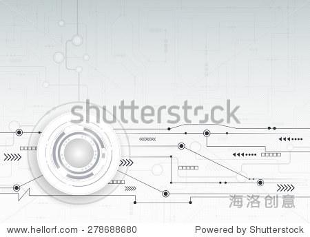 矢量插图文摘未来的电路板,高科技电脑数字速度技术浅灰色的颜色背景