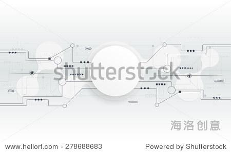 矢量插图文摘未来的电路板,高科技电脑数字技术概念,空白的3 d纸圈在