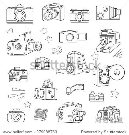 手绘照片相机设置,矢量插图