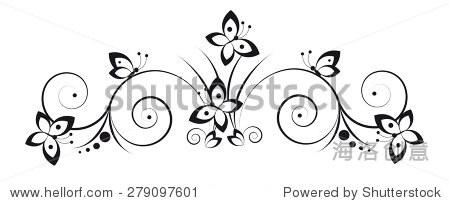 黑白装饰图案在美术风格与蝴蝶和卷轴