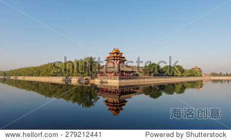 Forbidden city in Beijing viewed from Jinshan Park in early morning, peaceful landscape, good for wallpaper