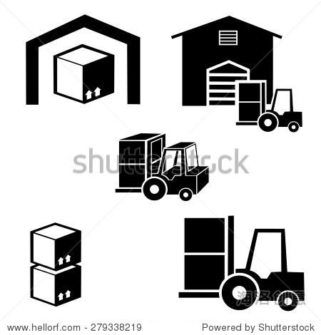 仓库和叉车交付卡车矢量图标