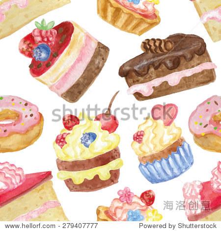 水彩甜蛋糕,蛋糕甜甜圈无缝模式.复古可爱的壁纸,织物