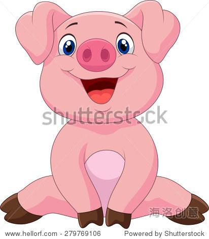 卡通可爱的猪宝宝,矢量插图