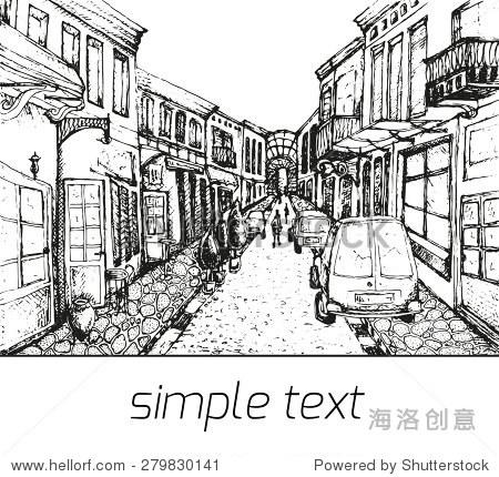 城市,画素描,矢量插图-建筑物/地标,公园/户外-站酷