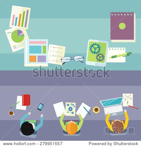 联合办公图标.商务会议在平面设计最好的观点.