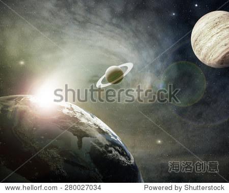 地球,土星和木星在宇宙云——这张照片由美国宇航局