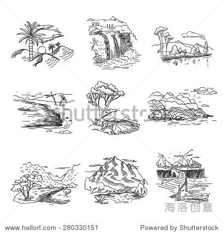 手绘草稿画素描自然景观插图与太阳海山森林瀑布.