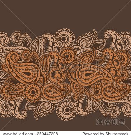 手绘指甲花的手绘文摘曼陀罗花和佩斯利涂鸦矢量插图设计元素